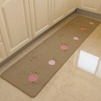 家居厨房长条毯床前走廊门垫玄关垫防滑吸水可水洗地垫飘窗毯 香槟 玫瑰花