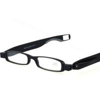老花镜男女 折叠时尚360度旋转笔筒式老花眼镜 树脂花镜 黑色200度