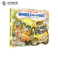 Wheels on the Bus 巴士上的车轮哗哗巴士 英文原版进口儿童绘本儿歌童谣纸板书 幼儿英语启蒙手掌书口袋书