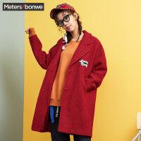 美特斯邦威毛呢大衣女秋冬装贴章中长款外套韩版学院风茧型大衣