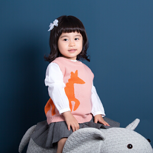 独角兽男女宝宝春款婴童圆领毛线马甲儿童中小童背心针织衫坎肩