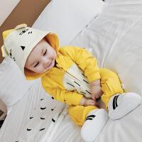 沃康婴儿衣服春装 新生儿爬爬服男女宝宝连帽狐狸哈衣 薄款连体衣