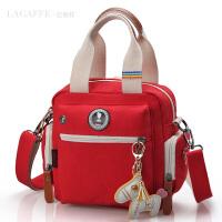 时尚妈咪包小号红色多功能旅行帆布包迷你双肩小包女包母婴斜挎包