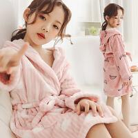 儿童浴袍冬女童法兰绒连体睡衣秋冬季加厚珊瑚绒公主女孩宝宝睡袍