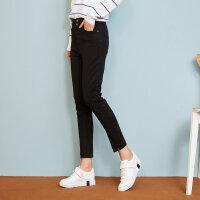 【2件2.5到手价:56.5】美特斯邦威牛仔长裤女士冬装新款多色百搭牛仔长裤商场款
