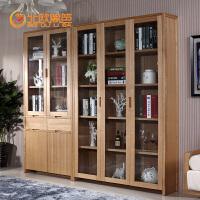 北欧篱笆水曲柳实木书柜书房书架组合带门现代简易书柜储物柜实木定制家具