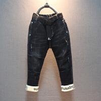 童装男童牛仔裤冬款韩版儿童冬装加绒加厚长裤纯棉休闲裤 黑色