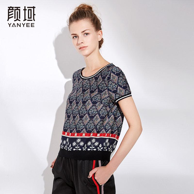 颜域短袖体恤女2018夏装新款气质修身显瘦印花雪纺女士上衣T恤