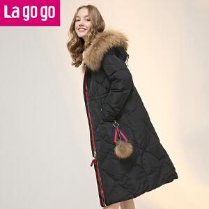 【清仓3折价379.8】Lagogo2019冬季新款女装时尚大毛领中长款连帽羽绒服加厚宽松外套