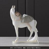 家居生活用品小女孩骑马 创意工艺品摆件软装饰礼品摆设可爱女生礼物轻奢