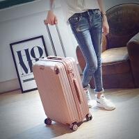 韩版旅行箱万向轮铝框拉杆箱pc学生行李皮箱潮男女软箱22 24 26寸 玫瑰金 拉链款