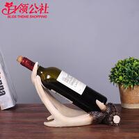 白领公社 酒架 欧式风格鹿角红酒架桌面摆件家居客厅厨房创意葡萄酒架子装饰品酒瓶架酒具