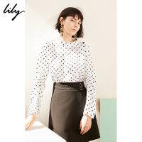 Lily春新款女装复古波点印花打底衫高领套头衫119120C8225