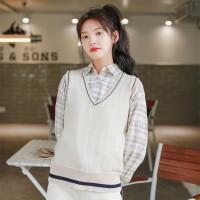 针织马甲女外穿学生无袖毛衣日系秋冬学院风毛线背心两件套装 均码