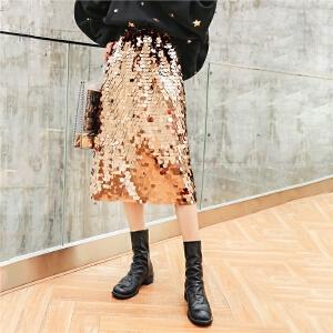七格格亮片半身裙秋装女2018一步裙新款显瘦包臀裙中长款裙子夏季