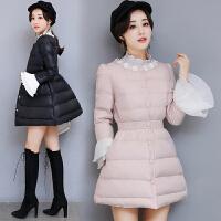 棉衣外套中长款冬2018韩版单排扣花边拼接收腰保暖羽绒女