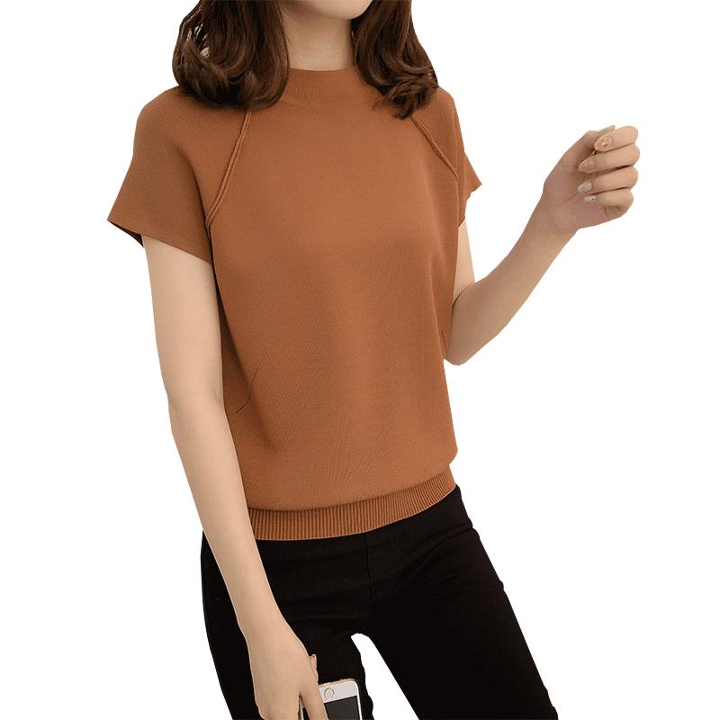 春装2018新款女短袖圆领纯色T恤上衣女打底衫短款针织衫夏季体恤