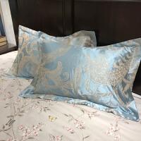 棉贡缎提花枕套欧式枕芯套单人乳胶枕头套婚庆一对2只 48cmX74cm