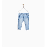童装新款婴童牛仔裤女童软春秋休闲裤子侧面叠层牛仔裤