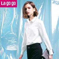Lagogo2018年春季新款白色休闲衬衫女长袖宽松上衣秋冬打底外穿