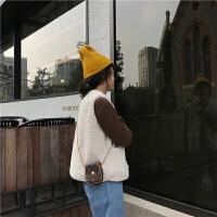 韩版上衣短款外套休闲时尚马夹修身Ninays2018秋冬新款女士韩版白色短款羊羔毛马甲马夹棉背心潮新 乳白色 均码