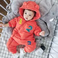 婴儿羽绒服冬季新生外出抱衣女0-1一2岁加厚保暖男宝宝羽绒连体衣