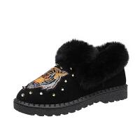 雪地靴女皮毛一体2018秋冬新款短筒短靴加厚保暖平底鞋子女鞋棉鞋