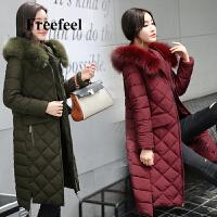 Freefeel2018秋冬新款羽绒棉服中长款女装韩版大毛领休闲大衣外套806