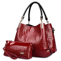 新款时尚漆皮鳄鱼纹女包亮皮女包手提包软中青年大容量包包