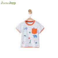 【每满200减100】jeep童装 男童T恤短袖纯棉小童宝宝夏装新款半袖套头衫潮