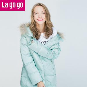 Lagogo/拉谷谷2016冬季新款直筒纯色连帽长袖羽绒服