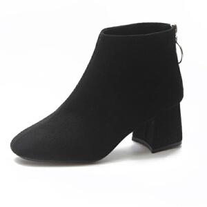 WARORWAR 2019新品YM87-1037冬季韩版磨砂反绒低跟鞋舒适女鞋潮流时尚潮鞋百搭潮牌靴子切尔西靴短靴