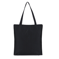 纯色空白手绘帆布袋文艺女单肩帆布包环保袋布包男女书包定制logo 黑色 防水竖黑