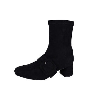 WARORWAR新品YM29-4011秋冬韩版磨砂反绒粗跟高跟裙边女士靴子袜子靴短靴