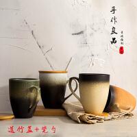 复古简约日式马克杯文艺ins带盖勺陶瓷杯咖啡杯茶杯水杯磨砂杯子