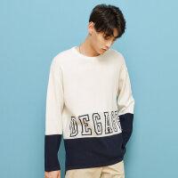 【2件2.5折到手价:49.8】美特斯邦威套头毛衣男秋装新款休闲色块拼接字母提花长袖毛衫