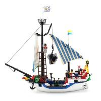 启蒙玩具小颗粒拼装积木拼插模型6-10岁儿童益智玩具海盗系列305 儿童礼物 拼装积木玩具 310块颗粒