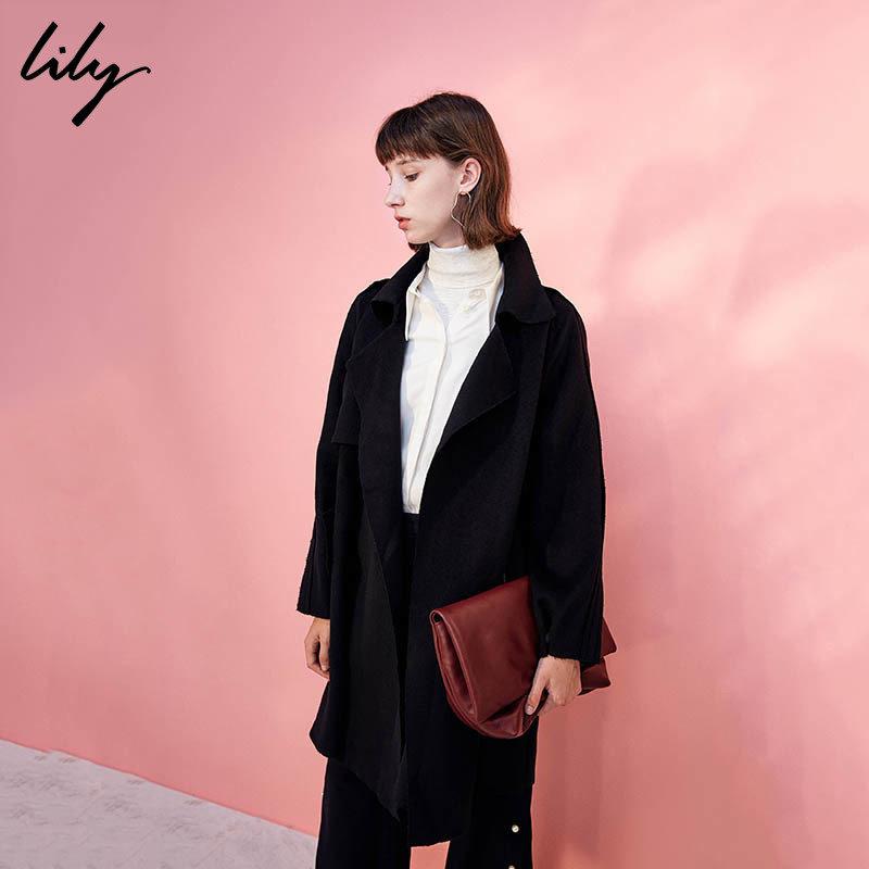 LILY春新款女装商务通勤OL系带风衣式毛呢外套117410F1552