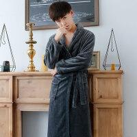 时尚宽松法兰绒睡袍男士秋冬季加厚珊瑚绒浴袍浴衣加长款大码睡衣 均码