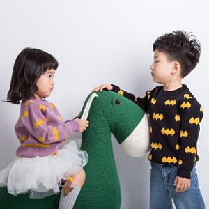 男童毛衣套头大童卡通蝙蝠侠休闲2018新款女宝宝套头毛衫