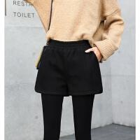 韩版高腰毛呢短裤女士冬季2017新款外穿打底休闲阔腿靴裤 黑色