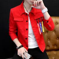 春季新款男士个性夹克男青少年修身衣服男装韩版潮流帅气牛仔外套 红色 Y097红色