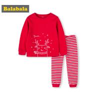 巴拉巴拉宝宝儿童内衣套装秋冬新品大红秋衣秋裤保暖女童睡衣棉质