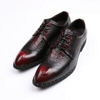 男士鳄鱼纹男鞋尖头商务正装皮鞋内增高6cm婚英男伦复古个性潮鞋 酒红色 正常版