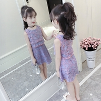 女童连衣裙夏装洋气儿童装背心公主裙小女孩碎花裙子
