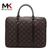 莫尔克(MERKEL)新款时尚印花电脑包男女士公文包手提包商务休闲大容量男包
