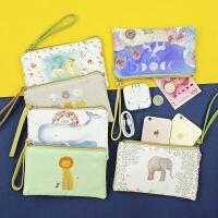大屏手机包钱包女士可爱卡通拉链布艺日韩简约大容量手拿包零钱包