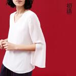 【夏装清仓价】初语夏季新款 V领直筒七分开衩袖净色雪纺衫