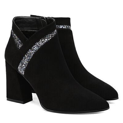 靴子女冬短靴2018新款气质优雅高跟女鞋秋冬季短筒加绒冬靴女粗跟真皮 黑色 黑-6550