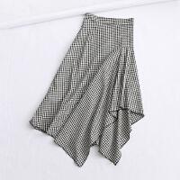 女装春装新款韩版修身高腰格子半身裙气质包臀裙荷叶边中裙女